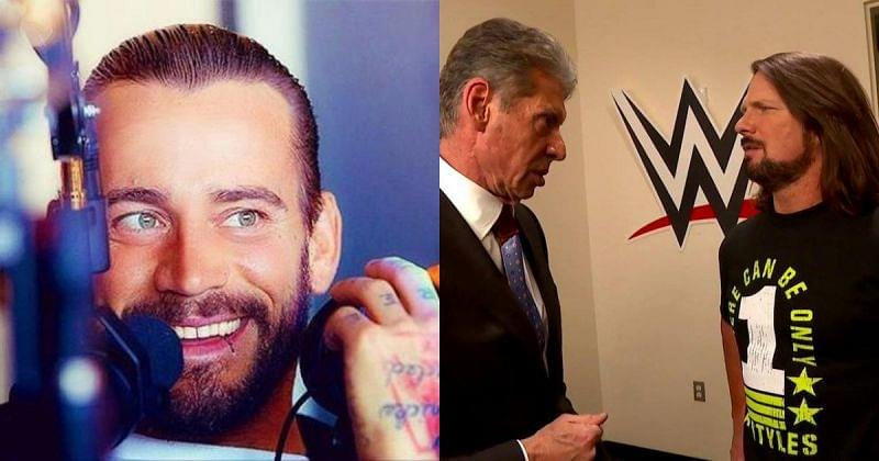 CM Punk, Vince McMahon, and AJ Styles.