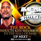 The Rock, Bret Hart et Mick Foley félicitent Ken Shamrock lors de la cérémonie IMPACT Hall of Fame avant Bound For Glory