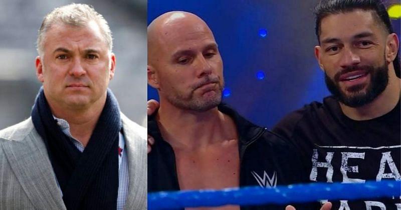 Shane McMahon, Adam Pearce, and Roman Reigns.