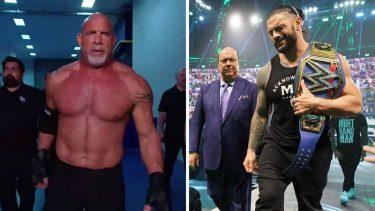 Goldberg (left); Roman Reigns (right)