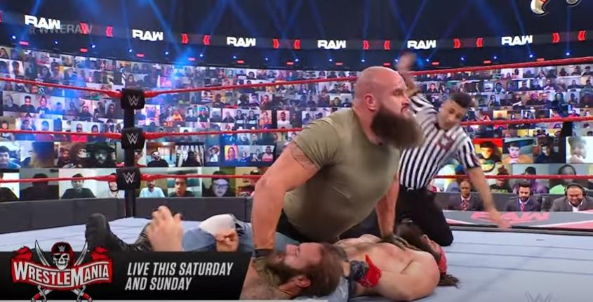 Résultats bruts de la WWE (4/5) - Match à handicap 2 contre 1 - Braun Strowman a battu Elias et Jaxson Ryker par Pinfall