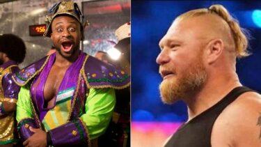 Big E (left); Brock Lesnar (right)