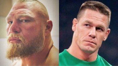 Brock Lesnar (left) and John Cena (right)