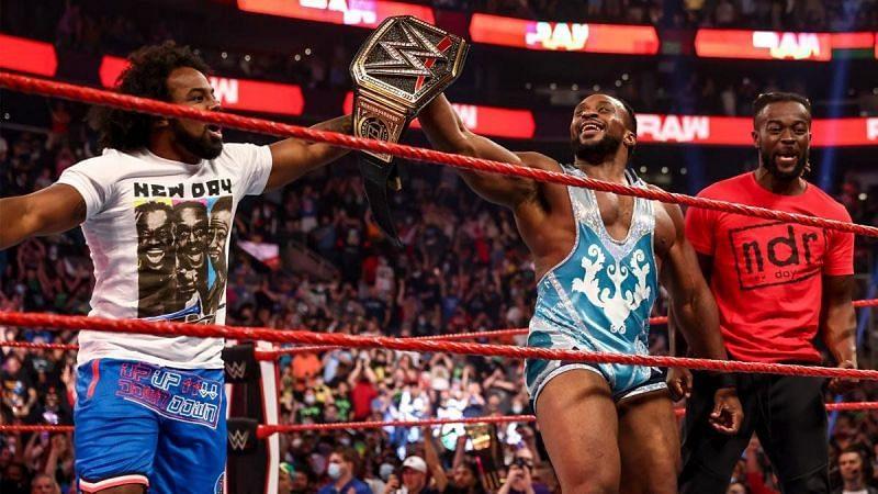 Big E's New Day partners Xavier Woods and Kofi Kingston help celebrate his WWE Championship victory.