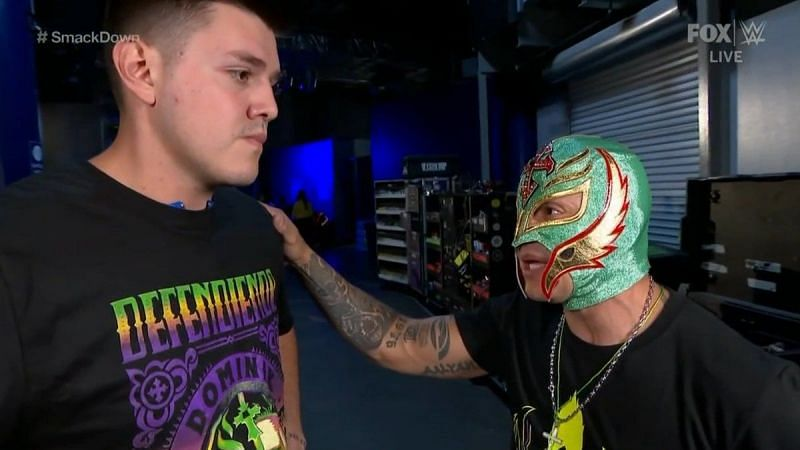 Dominik and his father Rey Mysterio backstage